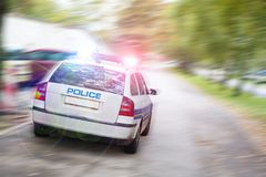 Speeding police car. In the city Royalty Free Stock Photos