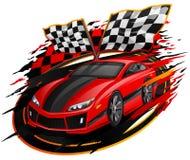 Speeding Racing Car Design. Speeding Racing Car with Checkered Flag Royalty Free Stock Image