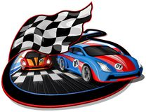 Speeding Racing Cars Design. Speeding Racing Cars approaching Finish Line with Checkered Flag & Racetrack Design.  The first Car is going over the Finish Line Stock Photos