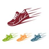 Speeding running shoe icons. In four color variations with a trainer, sneaker or sports shoe with speed and motion trails,  silhouette logo element on white Royalty Free Stock Photo