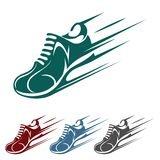 Speeding running shoe icons Stock Image