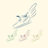 Speeding running shoe icons Royalty Free Stock Photography