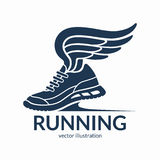 Speeding running shoe symbol, icon, logo. Sneaker silhouette with wings. Vector illustration Royalty Free Stock Photo