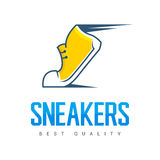 Speeding running sport shoe symbol, icon or logo. Label. Sneakers. Creative design. Vector illustration. Royalty Free Stock Photo
