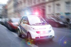 Speeding smart police. In the city Stock Photo