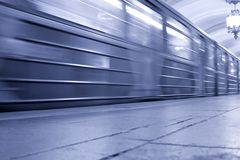 Speeding subway train Stock Images