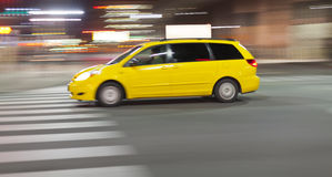 Speeding Taxi Cab Stock Photography
