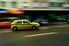 Speeding taxi in Rio Brazil royalty free stock photography