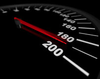 Speeding to the Limit. A speedometer showing a vehicle's speed being pushed to the maximum Royalty Free Stock Image