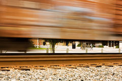 Speeding Train. In Small Town USA royalty free stock photo