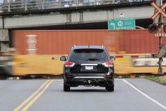 Speeding Train at Crossing Stock Photos