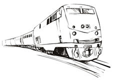 Speeding train sketch style Royalty Free Stock Photos