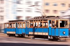 Speeding tram in the city Royalty Free Stock Images