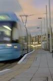 Speeding Tram in the morning Stock Image