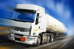 Speeding truck with fuel tank Royalty Free Stock Photos