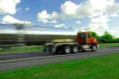 Speeding truck gasoline Stock Photography