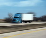Speeding Truck on Highway Royalty Free Stock Image