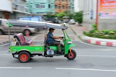 Speeding Tuk Tuk in Bangkok Stock Photo