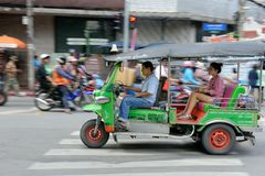 Speeding Tuk Tuk in Bangkok Royalty Free Stock Photos