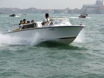 Speeding Venice Water Taxi Royalty Free Stock Photography