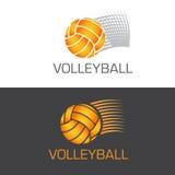 Speeding volleyball logo ball flying through the Stock Photos
