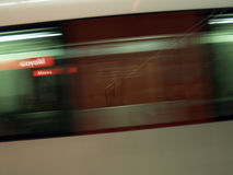 Speeding wagon. Underground wagon speeding up at bilbao (moyua station royalty free stock image