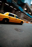 Speeding Yellow City Taxi Cab Royalty Free Stock Photos