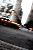 Speeding Yellow Taxi Cab Motion Royalty Free Stock Photography