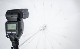 Speedlight with umbrella Stock Image