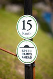 Speedlimit Sign. And Ramps Warning On A Pole Stock Images