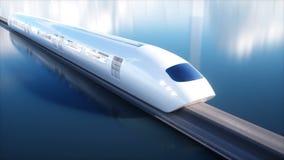 Speedly未来派单轨铁路车火车 未来的概念 人们和机器人 水和风能 现实4K动画 向量例证