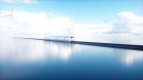 Speedly未来派单轨铁路车火车 科学幻想小说驻地 未来的概念 人们和机器人 水和风能 3d 图库摄影