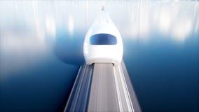 Speedly未来派单轨铁路车火车 科学幻想小说驻地 未来的概念 人们和机器人 水和风能 3d 免版税库存图片