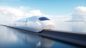 Speedly Futuristic monorail train . Concept of future. People and robots. Water and wind energy. Realistic 4K animation. Speedly Futuristic monorail train stock footage