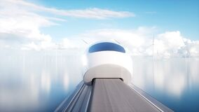 Speedly Futuristic monorail train . Concept of future. People and robots. Water and wind energy. Realistic 4K animation.