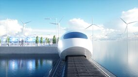 Speedly Futuristic monorail train. Sci fi station. Concept of future. People and robots. Water and wind energy