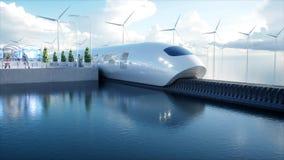 Speedly futuristiskt enskenig järnvägdrev Sci fi station Begrepp av framtid Folk och robotar Vatten- och vindenergi 3d stock illustrationer