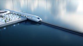 Speedly Futurystyczny jednoszynowy pociąg Sci fi stacja Pojęcie przyszłość Ludzie i roboty Wodna i wiatrowa energia ilustracji