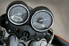 Speedmeter and tachometer. On a modern motorcycle Stock Image
