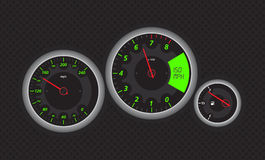 Speedo. Meter from fast car, with green details. Vectored eps illustration Stock Photo