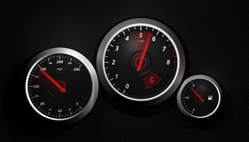Speedo. A sports car instrument panel showing speed Stock Image