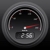 Speedo. Black speedometer with integral timer, vector illustration Stock Photo