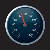 Speedo on black. Illustration of a black speedometer on black background Royalty Free Stock Photos