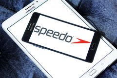 Speedo brand logo. Logo of Speedo brand on samsung mobile. Speedo International Ltd. is an Australian manufacturer and distributor of swimwear and swim-related Royalty Free Stock Photography