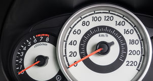 Speedo meter and tachometer. Modern car dashboard with speedo meter/mileage and tachometer in metric Stock Images