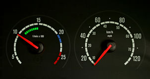 Speedo and tacho. A speedometer and rev counter Stock Photos