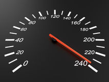 Speedometer. On black background, 240 km/h Royalty Free Stock Photo