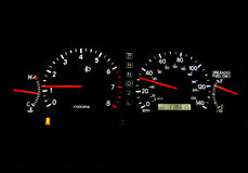 Speedometer. Clear glowing speedometers in a car. Panoramic Stock Photos
