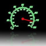 Speedometer. Illustration of the speedometer and reflection Royalty Free Stock Images