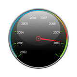 Speedometer. With the image of date 2010 Stock Photo